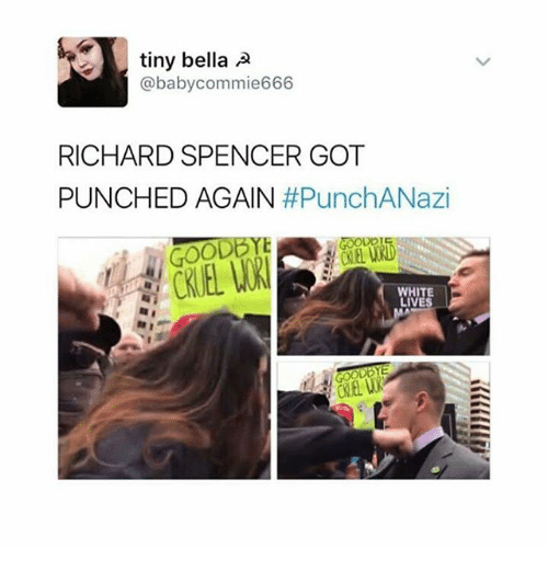 Richard Spencer Got Punched Again: tiny bella A  aby commie666  RICHARD SPENCER GOT  PUNCHED AGAIN  #PunchANazi  WHITE  LIVES