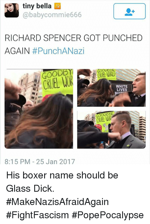 Richard Spencer Got Punched Again: tiny bella  baby commie666  RICHARD SPENCER GOT PUNCHED  AGAIN  #PunchANazi  OODB  WHITE  LIVES  8:15 PM 25 Jan 2017 His boxer name should be Glass Dick.  #MakeNazisAfraidAgain #FightFascism   #PopePocalypse