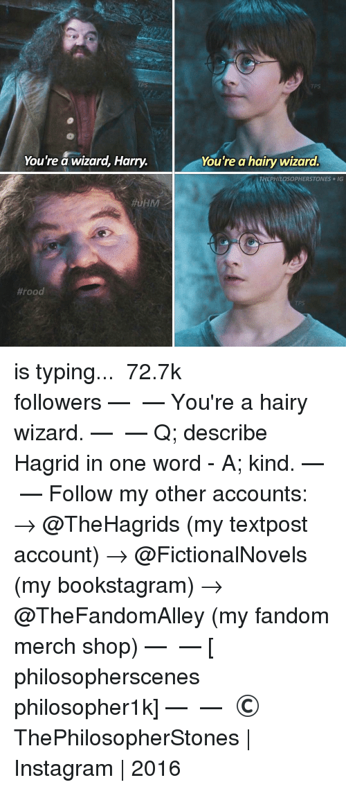 Wizard Harry: TIPS  You're a wizard, Harry.  You're a hairy wizard.  THEPHILOSOPHERSTONES e IG  Hrood is typing... ⠀⠀⠀⠀⠀⠀⠀⠀► 72.7k followers◄ — ✿ — You're a hairy wizard. — ✿ — Q; describe Hagrid in one word - A; kind. — ✿ — Follow my other accounts: → @TheHagrids (my textpost account) → @FictionalNovels (my bookstagram) → @TheFandomAlley (my fandom merch shop) — ✿ — [ philosopherscenes philosopher1k] — ✿ — © ThePhilosopherStones   Instagram   2016