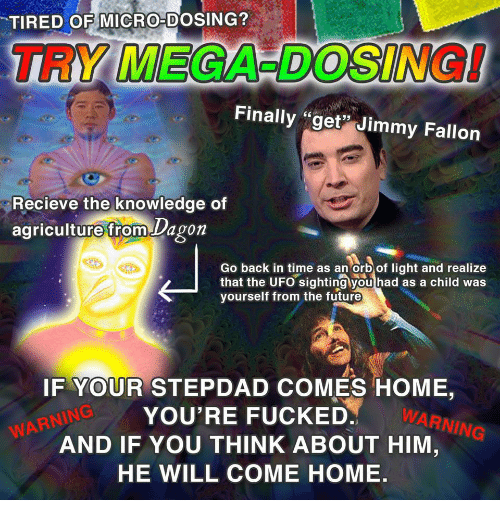 "Recieve: 'TIRED OEMICRO-DOSING?  TRY MEGA-DOSING!  Finally ""get Jimmy Fallor  Recieve the knowledge of  agriculture from Dagon  Go back in time as an Orb of light and realize  that the UFO sighting you had as a child was  yourself from the future  IF YOUR STEPDAD COMES HOME,  YOU'RE FUCKED.  AND IF YOU THINK ABOUT HIM  HE WILL COME HOME.  WARN  ING  WARNING"