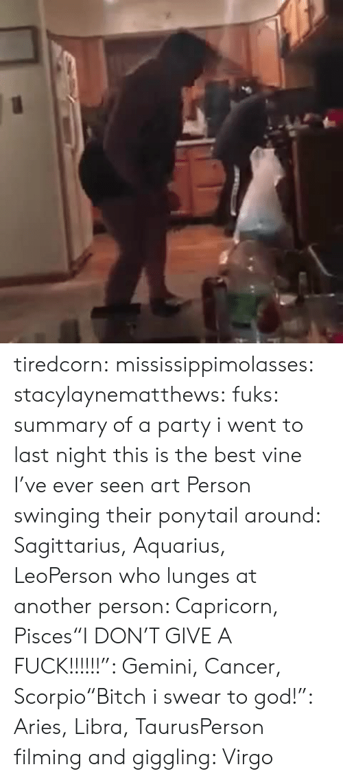 """Best Vine: tiredcorn:  mississippimolasses:  stacylaynematthews:  fuks:    summary of a party i went to last night    this is the best vine I've ever seen  art  Person swinging their ponytail around: Sagittarius, Aquarius, LeoPerson who lunges at another person: Capricorn, Pisces""""I DON'T GIVE A FUCK!!!!!!"""": Gemini, Cancer, Scorpio""""Bitch i swear to god!"""": Aries, Libra, TaurusPerson filming and giggling: Virgo"""