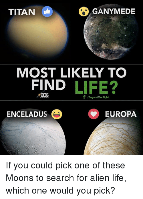 Life, Memes, and Titanic: TITAN  O GANYMEDE  MOST LIKELY TO  FIND  LIFE?  f /Beyondoursight  ENCELADUS EUROPA If you could pick one of these Moons to search for alien life, which one would you pick?