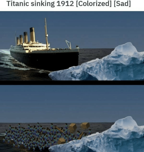 sinking: Titanic sinking 1912 [Colorized] [Sad]