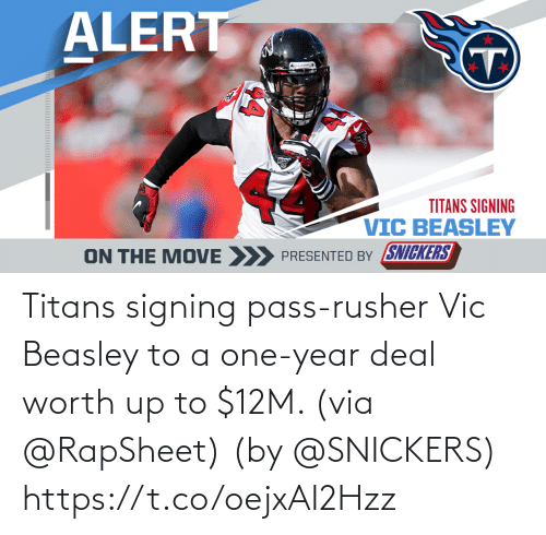 Signing: Titans signing pass-rusher Vic Beasley to a one-year deal worth up to $12M. (via @RapSheet)  (by @SNICKERS) https://t.co/oejxAI2Hzz