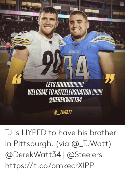 brother: TJ is HYPED to have his brother in Pittsburgh. (via @_TJWatt)   @DerekWatt34 | @Steelers https://t.co/omkecrXlPP