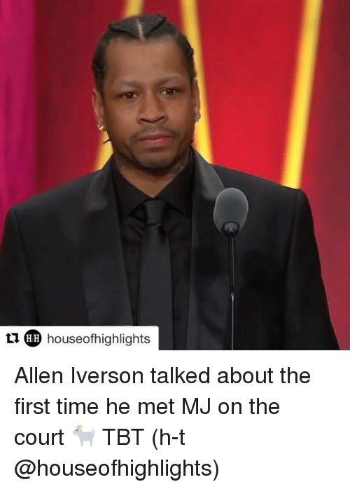 Allen Iverson, Sports, and Tbt: tldp houseofhighlights  LIAR) houseofhighlights  HH Allen Iverson talked about the first time he met MJ on the court 🐐 TBT (h-t @houseofhighlights)