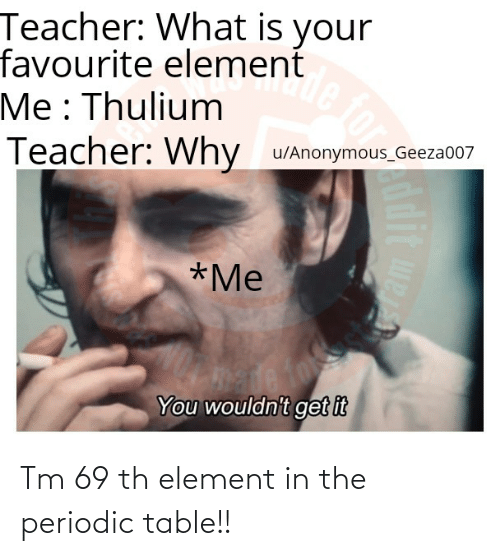 periodic table: Tm 69 th element in the periodic table!!
