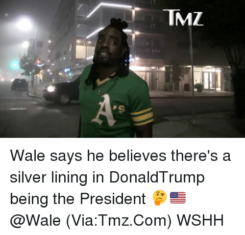 silver linings: TMZ  IT  As Wale says he believes there's a silver lining in DonaldTrump being the President 🤔🇺🇸 @Wale (Via:Tmz.Com) WSHH