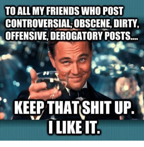 Friends, Memes, and Ups: TO ALL MY FRIENDS WHO POST  CONTROVERSIAL OBSCENE, DIRTY  OFFENSIVE, DEROGATORY POSTS.  KEEP THAT SHIT UP.  I LIKE IT