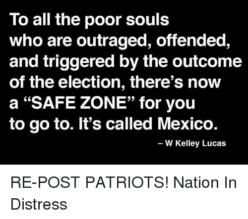 """Safe Zone: To all the poor souls  who are outraged, offended,  and triggered by the outcome  of the election, there's now  a """"SAFE ZONE"""" for you  to go to. It's called Mexico.  W Kelley Lucas RE-POST PATRIOTS!   Nation In Distress"""