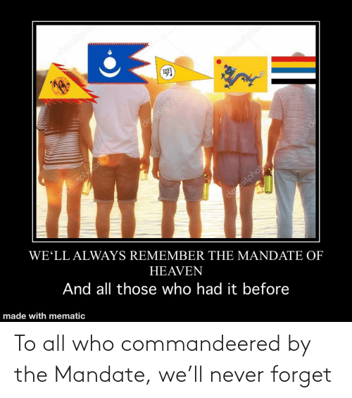 mandate: To all who commandeered by the Mandate, we'll never forget