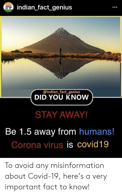 misinformation: To avoid any misinformation about Covid-19, here's a very important fact to know!