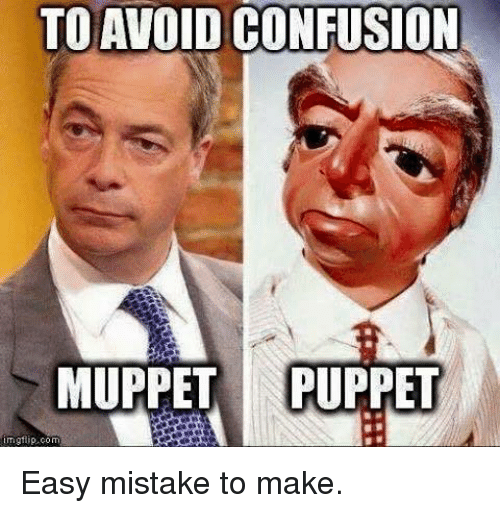 Confused, Memes, and Mistakes: TO AVOID CONFUSION  MUPPET NIPUPPET  com Easy mistake to make.
