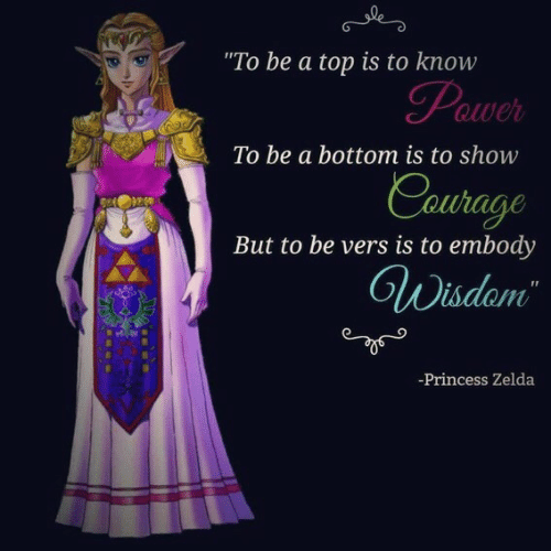 "Vers: ""To be a top is to know  To be a bottom is to show  hage  But to be vers is to embody  adam  -Princess Zelda"