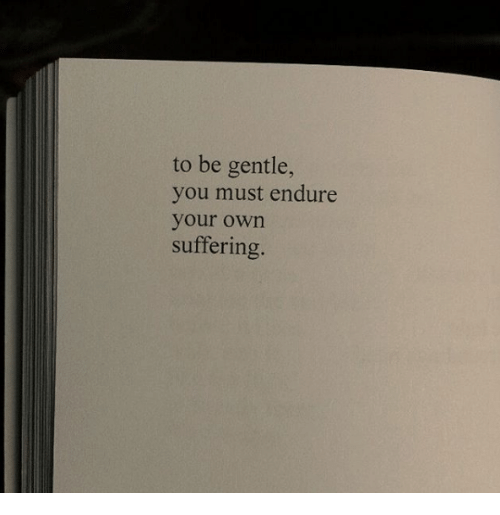endure: to be gentle,  you must endure  your own  suffering.