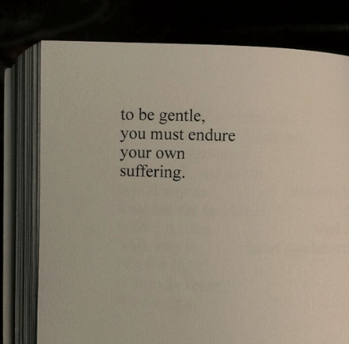 Suffering, Own, and You: to be gentle,  you must endure  your own  suffering.