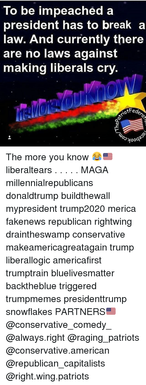 Memes, Patriotic, and The More You Know: To be impeached a  president has to break a  law. And currently there  are no laws against  making liberals cry  e,  Q3거000 The more you know 😂🇺🇸 liberaltears . . . . . MAGA millennialrepublicans donaldtrump buildthewall mypresident trump2020 merica fakenews republican rightwing draintheswamp conservative makeamericagreatagain trump liberallogic americafirst trumptrain bluelivesmatter backtheblue triggered trumpmemes presidenttrump snowflakes PARTNERS🇺🇸 @conservative_comedy_ @always.right @raging_patriots @conservative.american @republican_capitalists @right.wing.patriots