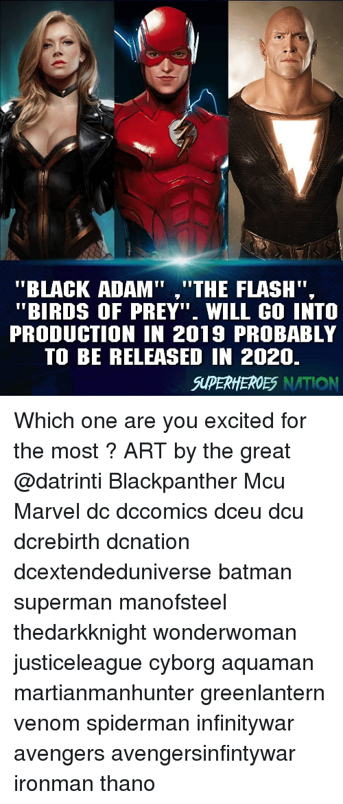"""Batman, Memes, and Superman: to  """"BLACK ADAM"""",""""THE FLASH"""".  """"BIRDS OF PREY"""" WILL GO INTO  PRODUCTION IN 2019 PROBABLY  TO BE RELEASED IN 2020.  SUPERHEROES NATION Which one are you excited for the most ? ART by the great @datrinti Blackpanther Mcu Marvel dc dccomics dceu dcu dcrebirth dcnation dcextendeduniverse batman superman manofsteel thedarkknight wonderwoman justiceleague cyborg aquaman martianmanhunter greenlantern venom spiderman infinitywar avengers avengersinfintywar ironman thano"""