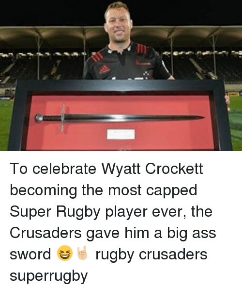 Super Rugby: To celebrate Wyatt Crockett becoming the most capped Super Rugby player ever, the Crusaders gave him a big ass sword 😆🤘🏼 rugby crusaders superrugby