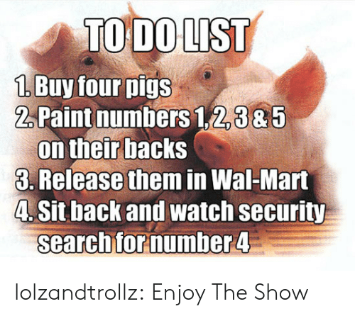 wal mart: TO DO LIST  1 Buy four pigs  2Paint numbers 1,2,385  on their backs  3. Release them in Wal-Mart  4. Sit back and watch security  searchfor number 4 lolzandtrollz:  Enjoy The Show