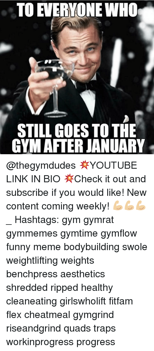 Aestheticly: TO EVERYONE WHO  STILL GOES TO THE  GYM AFTER JANUARY @thegymdudes 💥YOUTUBE LINK IN BIO 💥Check it out and subscribe if you would like! New content coming weekly! 💪🏼💪🏼💪🏼 _ Hashtags: gym gymrat gymmemes gymtime gymflow funny meme bodybuilding swole weightlifting weights benchpress aesthetics shredded ripped healthy cleaneating girlswholift fitfam flex cheatmeal gymgrind riseandgrind quads traps workinprogress progress