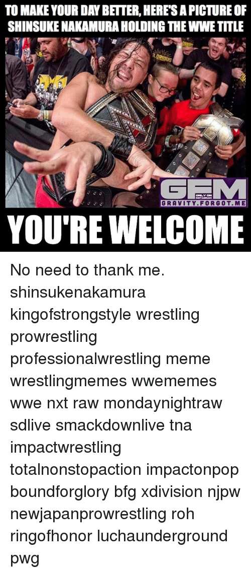 Youre Welcom: TO MAKE YOUR DAY BETTER, HERESAPICTURE OF  SHINSUKENAKAMURAHOLDING THEWWE TITLE  GEMA  GRAVITY FOR GOT. ME  YOU'RE WELCOME No need to thank me. shinsukenakamura kingofstrongstyle wrestling prowrestling professionalwrestling meme wrestlingmemes wwememes wwe nxt raw mondaynightraw sdlive smackdownlive tna impactwrestling totalnonstopaction impactonpop boundforglory bfg xdivision njpw newjapanprowrestling roh ringofhonor luchaunderground pwg