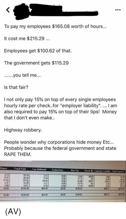 "Anaconda, Memes, and Money: To pay my employees $165.08 worth of hours  It cost me $215.29  Employees get $100.62 of that  The government gets $115.29  Is that fair?  I not only pay 15% on top of every single employees  hourly rate per check..for ""employer liability"". I am  also required to pay 15% on top of their tips! Money  that I don't even make..  Highway robbery  People wonder why corporations hide money Etc  Probably because the federal government and state  RAPE THEM  Total Paid  Tax Wahheld Deducions  Net Pay  Check No Esploger Liabildy Total Expene  522  17.42  337  3 68  25 26  87.62  1695  914  44 64  221  3 62  17.12  42 58  D0  50027  11665  0.00  2303  216  1474 (AV)"