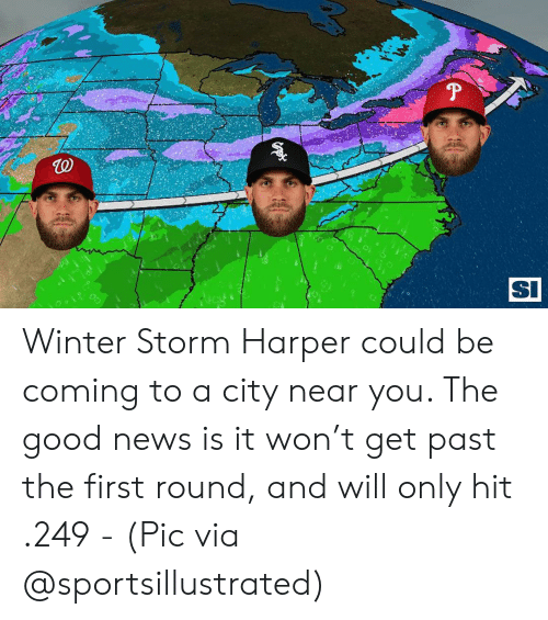 winter storm: TO  SI  0 Winter Storm Harper could be coming to a city near you. The good news is it won't get past the first round, and will only hit .249 - (Pic via @sportsillustrated)