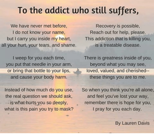 Love Finds You Quote: To The Addict Who Still Suffers We Have Never Met Before