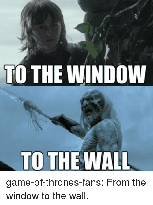 window to the wall: TO THE WINDOW  TO THE WALL game-of-thrones-fans:  From the window to the wall.