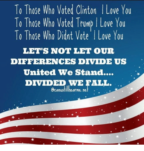 United We Stand: To Those Who Voted Clinton l Love You  To Those Who voted Trump Love You  To Those Who Didnt Vote l Love You  LET'S NOT LET OUR  DIFFERENCES DIVIDE US  United We Stand...  DIVIDED WE FALL.  Ccanustillhearme.net