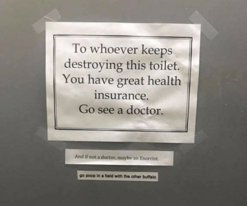 exorcist: To whoever keeps  destroying this toilet.  You have great health  nsurance.  Go see a doctor.  And if not a doctor, maybe an Exorcist.  go poop in a fiold with the other buffalo
