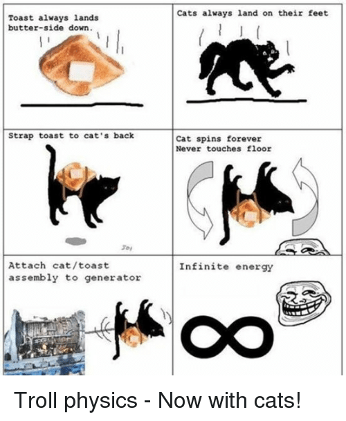 Cats, Energy, and Troll: Toast always lands  butter-side down.  Strap toast to cat's back  Attach cat/toast  assembly to generator  Cats always land on their feet  Cat spins forever  Never touches floor  Infinite energy Troll physics - Now with cats!