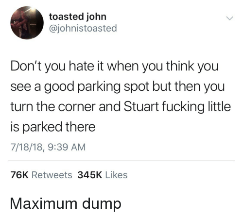 Toasted: toasted john  @johnistoasted  Don't you hate it when you think you  see a good parking spot but then you  turn the corner and Stuart fucking little  is parked there  7/18/18, 9:39 AM  76K Retweets345K Likes Maximum dump