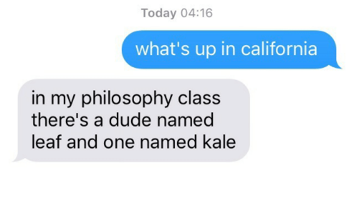 Kale: Today 04:16  what's up in california  in my philosophy class  there's a dude named  leaf and one named kale