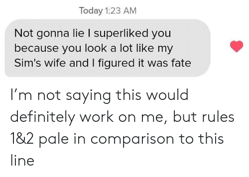 Sims: Today 1:23 AM  Not gonna lie I superliked you  because you look a lot like my  Sim's wife and I figured it was fate I'm not saying this would definitely work on me, but rules 1&2 pale in comparison to this line