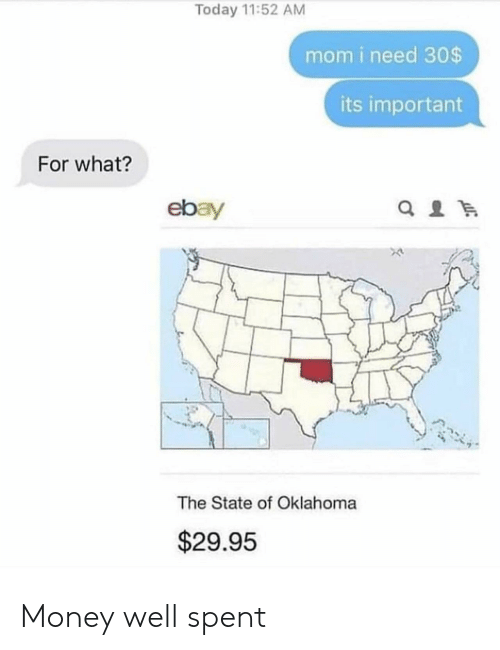 The State: Today 11:52 AM  mom i need 30$  its important  For what?  ebay  The State of Oklahoma  $29.95 Money well spent