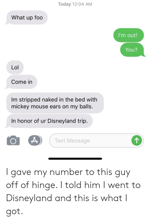 Disneyland, Lol, and Mickey Mouse: Today 12:04 AM  What up foo  I'm out!  You?  Lol  Come in  Im stripped naked in the bed with  mickey mouse ears on my balls.  In honor of ur Disneyland trip.  Text Message I gave my number to this guy off of hinge. I told him I went to Disneyland and this is what I got.