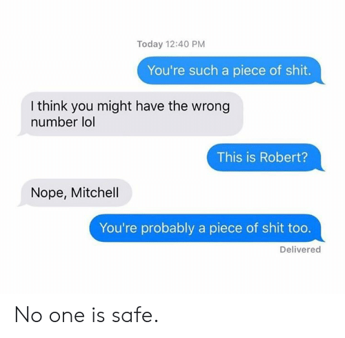A Piece Of Shit: Today 12:40 PM  You're such a piece of shit.  I think you might have the wrong  number lol  This is Robert?  Nope, Mitchell  You're probably a piece of shit too.  Delivered No one is safe.
