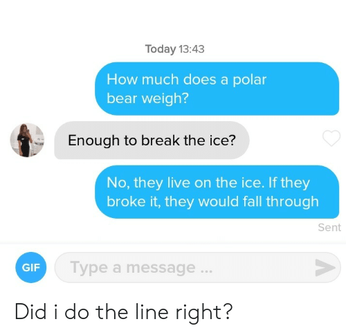They Live: Today 13:43  How much does a polar  bear weigh?  Enough to break the ice?  No, they live on the ice. If they  broke it, they would fall through  Sent  Type a message...  GIF Did i do the line right?