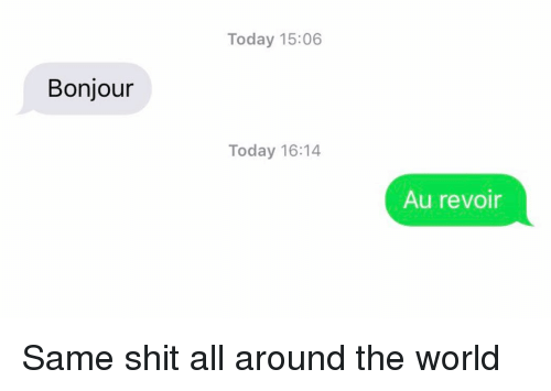 Relationships, Shit, and Texting: Today 15:06  Bonjour  Today 16:14  Au revoir Same shit all around the world