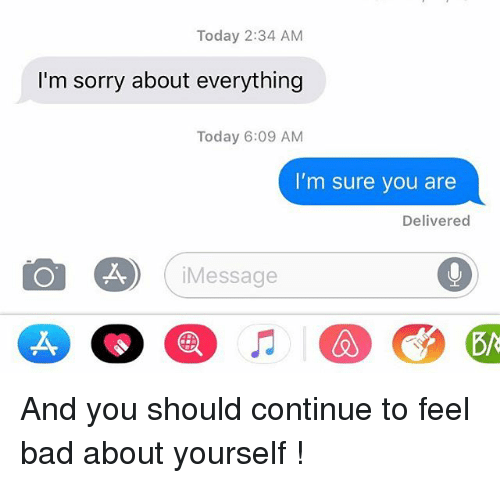 Bad, Relationships, and Sorry: Today 2:34 AM  I'm sorry about everything  Today 6:09 AM  I'm sure you are  Delivered  O A (iMessage And you should continue to feel bad about yourself !