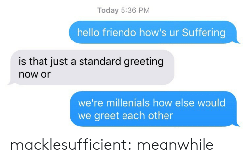 Friendo: Today 5:36 PM  hello friendo how's ur Suffering  is that just a standard greeting  now or  we're millenials how else would  we greet each other macklesufficient:  meanwhile