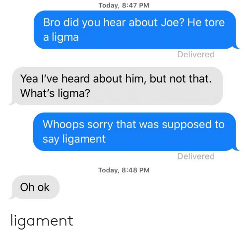 ligament: Today, 8:47 PM  Bro did you hear about Joe? He tore  a ligma  Delivered  Yea I've heard about him, but not that.  What's ligma?  Whoops sorry that was supposed to  say ligament  Delivered  Today, 8:48 PM  Oh ok ligament