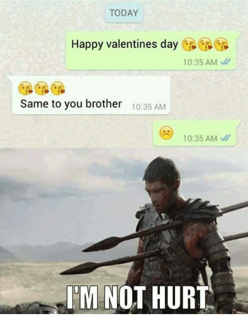 Memes, Valentine's Day, and 🤖: TODAY  Happy valentines day  10:35 AM  Same to you brother  10:35 AM  10:35 AM  IM NOT HURT