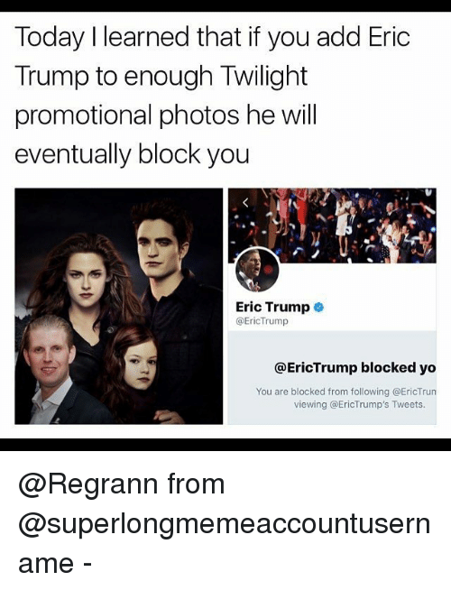 Eric Trump: Today I learned that if you add Eric  Trump to enough Twilight  promotional photos he will  eventually block you  Eric Trump  @EricTrump  @EricTrump blocked yo  You are blocked from following @EricTru  viewing @EricTrump's Tweets. @Regrann from @superlongmemeaccountusername -