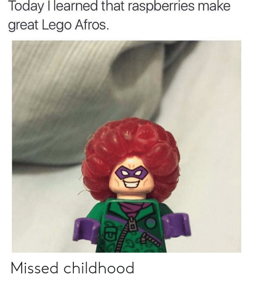 Afros: Today I learned that raspberries make  great Lego Afros Missed childhood