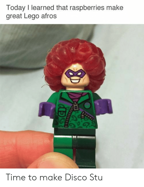 Afros: Today I learned that raspberries make  great Lego afros Time to make Disco Stu