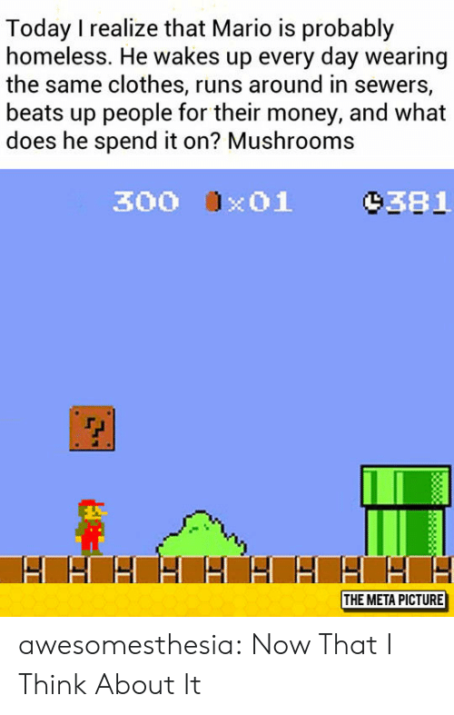 mushrooms: Today I realize that Mario is probably  homeless. He wakes up every day wearing  the same clothes, runs around in sewers,  beats up people for their money, and what  does he spend it on? Mushrooms  9381  300 x01  THE META PICTURE awesomesthesia:  Now That I Think About It