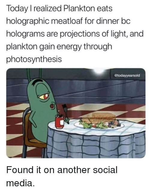 Photosynthesis: Today I realized Plankton eats  holographic meatloaf for dinner bc  holograms are projections of light, and  plankton gain energy through  photosynthesis  @todayyearsold Found it on another social media.
